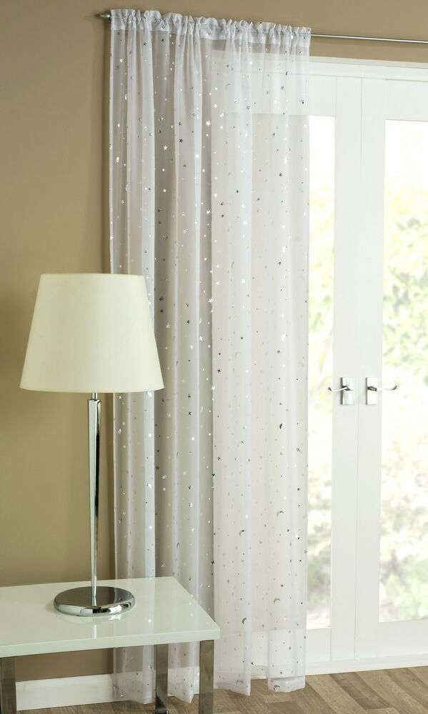 Starlight Voile Net Curtain Panel Sheer White Silver Grey