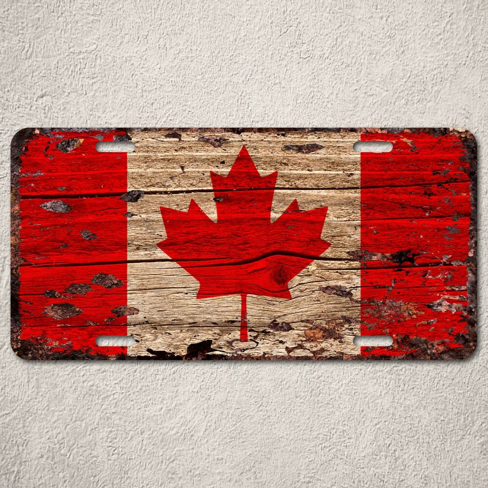 LP0121 Canada Flag Auto License Plate Rust Vintage Home