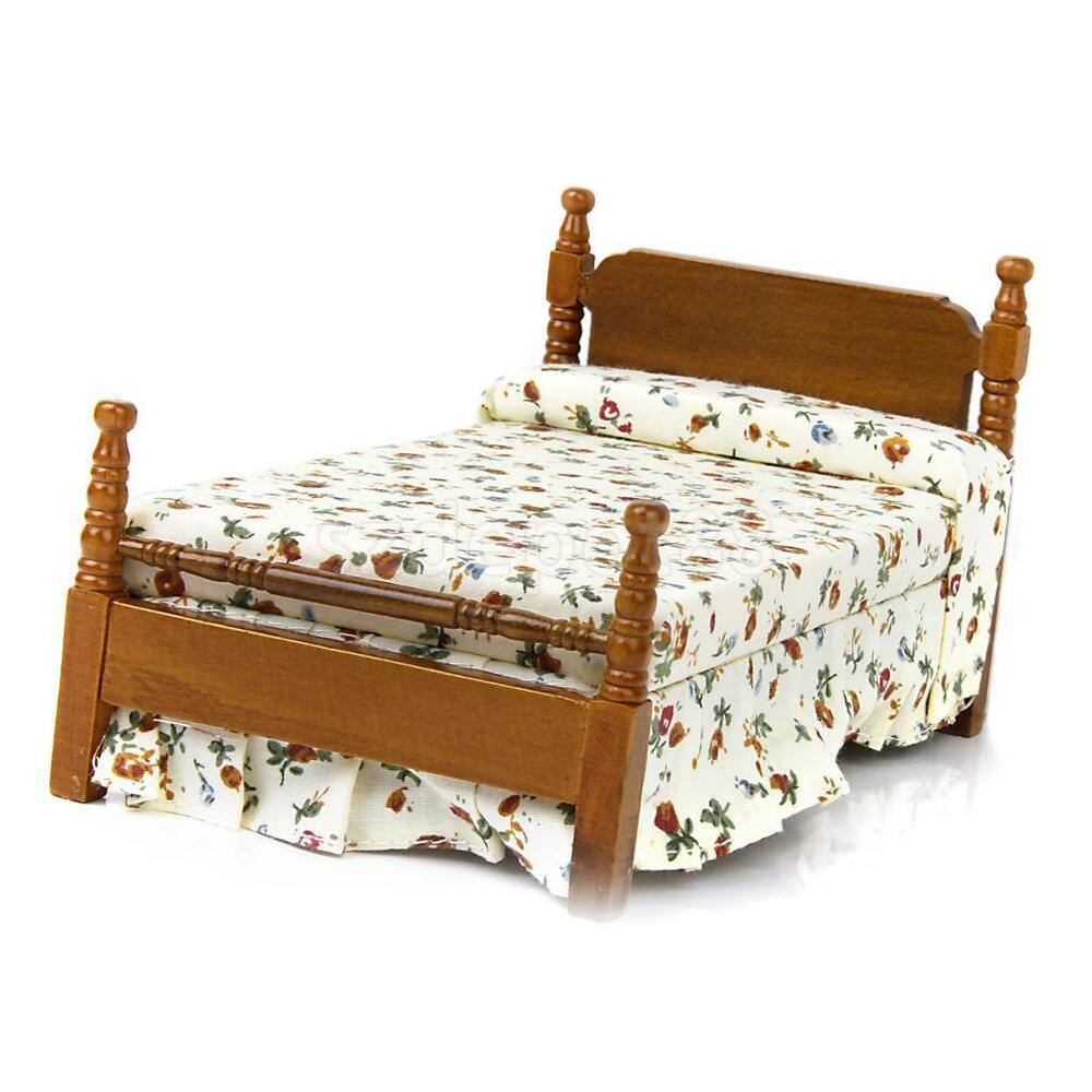One Furniture: 1/12 Wood Bed W/ Floral Cover Mattress Dollhouse Miniature