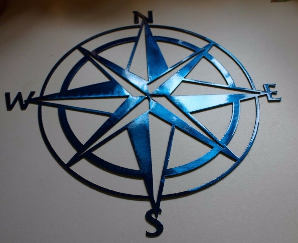"Nautical COMPASS ROSE 36"" WALL ART DECOR Metallic Blue 
