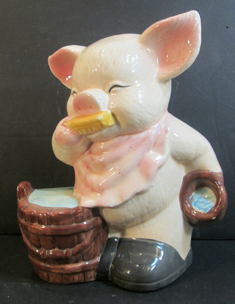 Vintage cute hand painted glazed ceramic piggy bank 10 for Can ceramic be painted