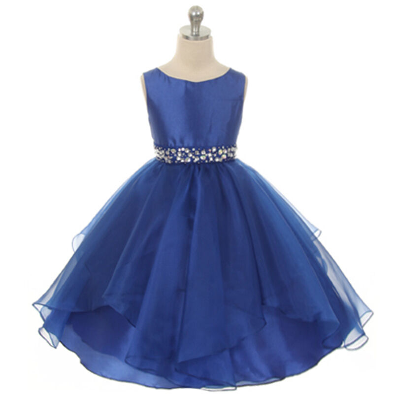 Royal blue flower girl dress birthday wedding formal for Dresses for girls wedding