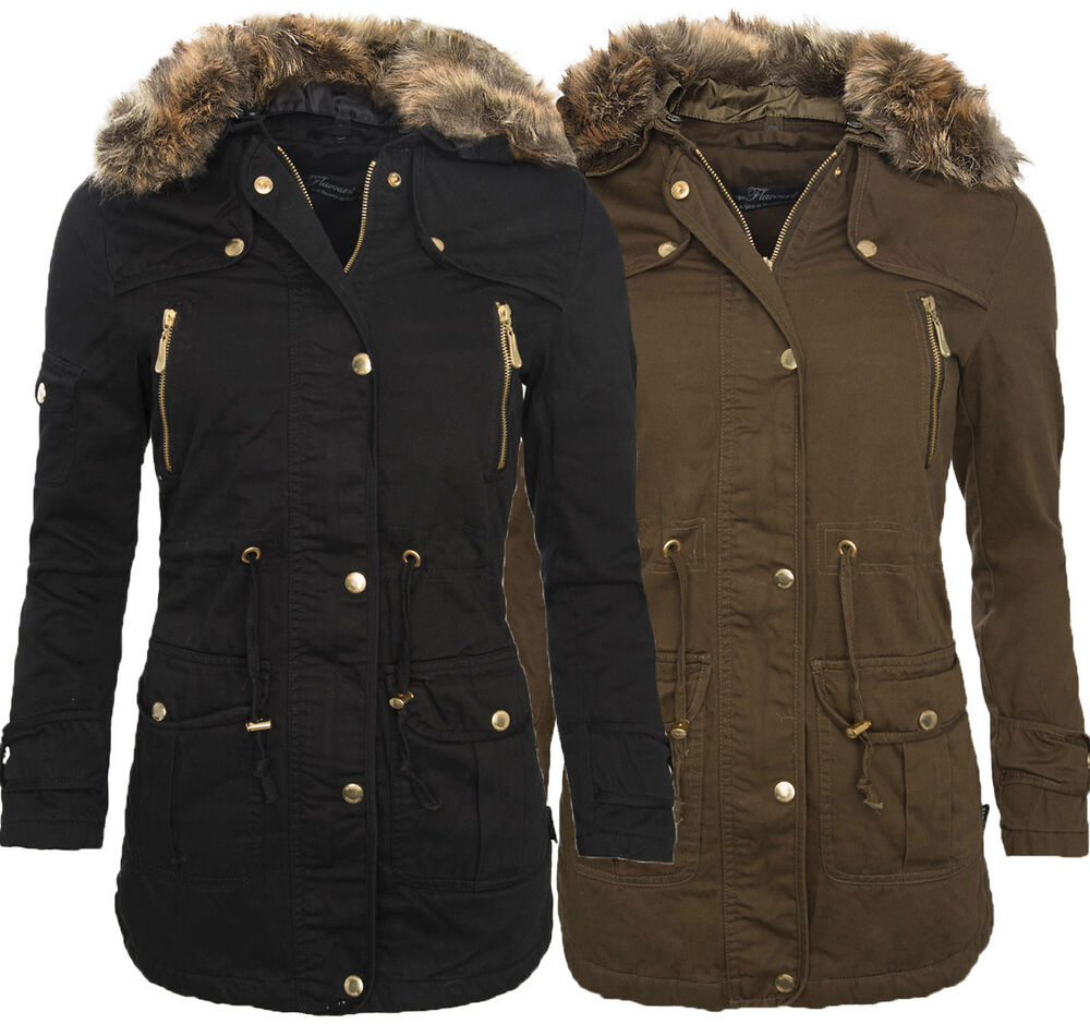 damen winter jacke parka mantel winterjacke innen mit warmem teddyfell neu b176 ebay. Black Bedroom Furniture Sets. Home Design Ideas