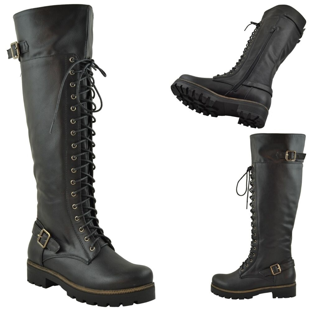 womens over the high knee buckle lace up combat boots knee
