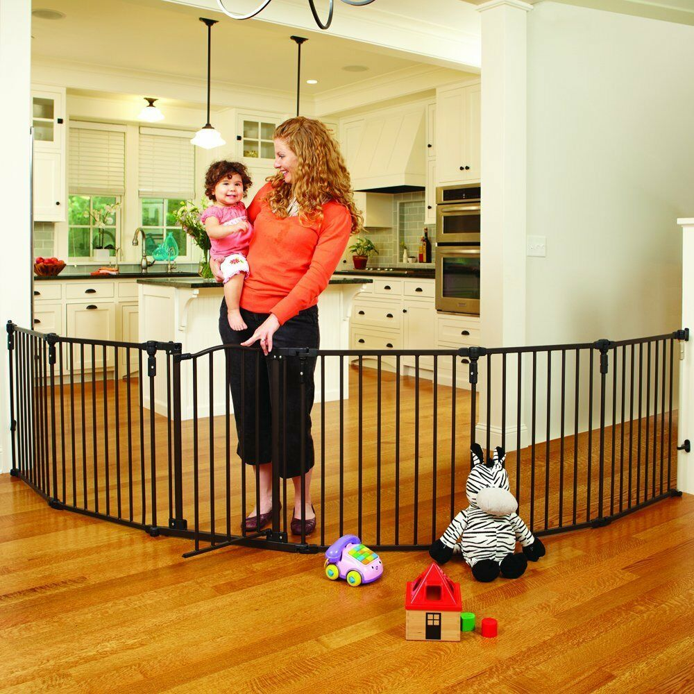 Baby Safety Gate Play Yard Fence Metal 6 Panels Dog Pet