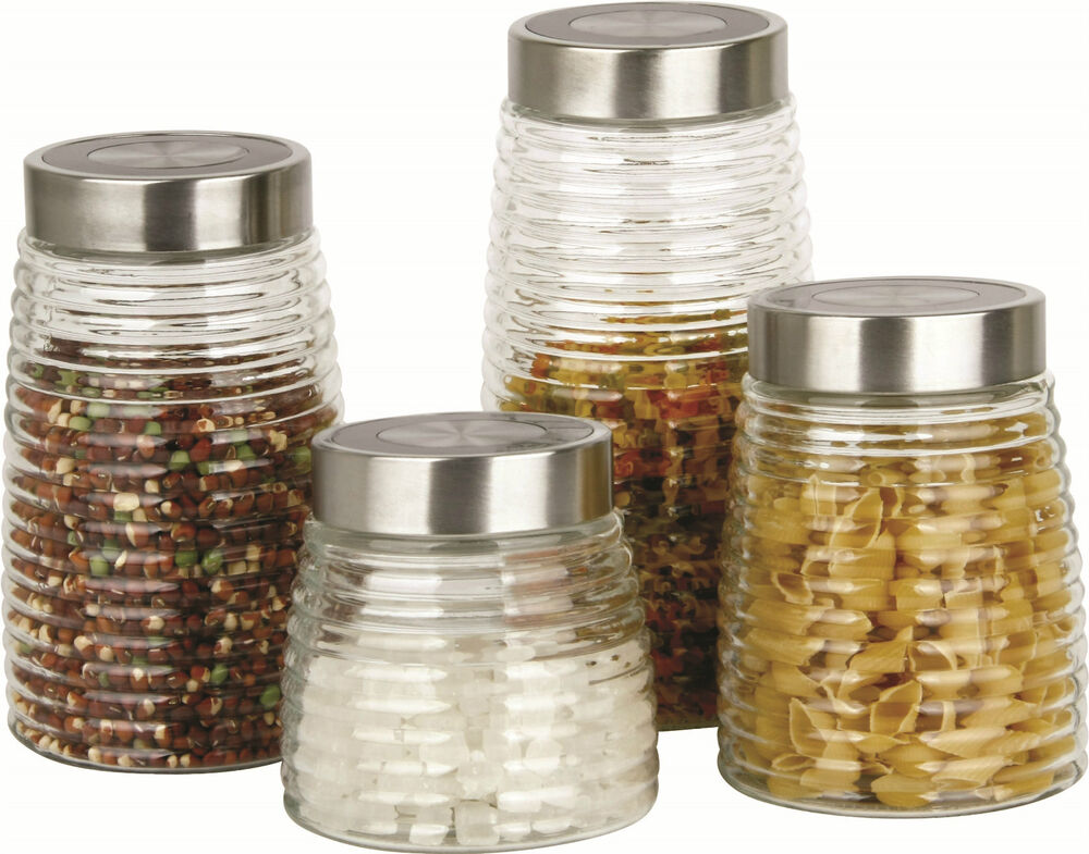 glass kitchen storage canisters 4 glass storage jar canister set kitchen tea coffee pasta 3799