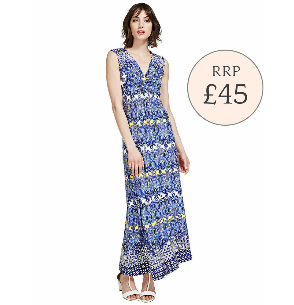 RRP £45 Ex Marks & Spencer Knot Front Floral Maxi Dress ...