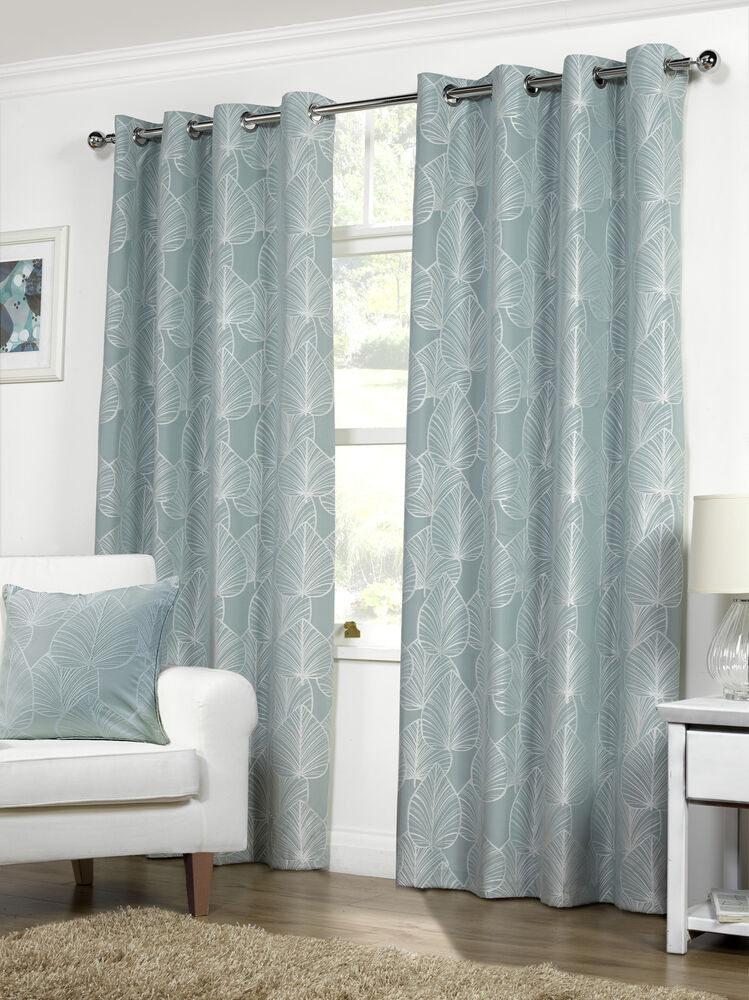 Duck Egg Ready Made Curtains Brand New Leaf Design Eylet