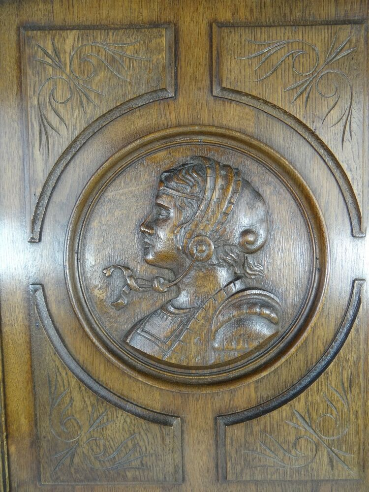 Antique Wood Paneling: Antique French Gothic Solid Oak Brown Carved Wood Panel