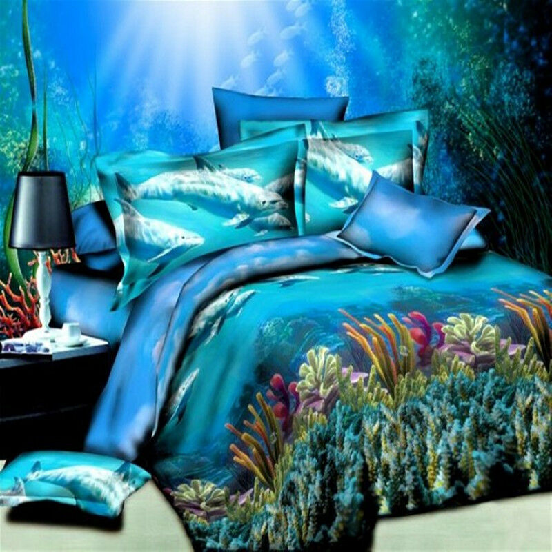 Brushed Dolphin Printed Bedding Set Home Textile Pattern
