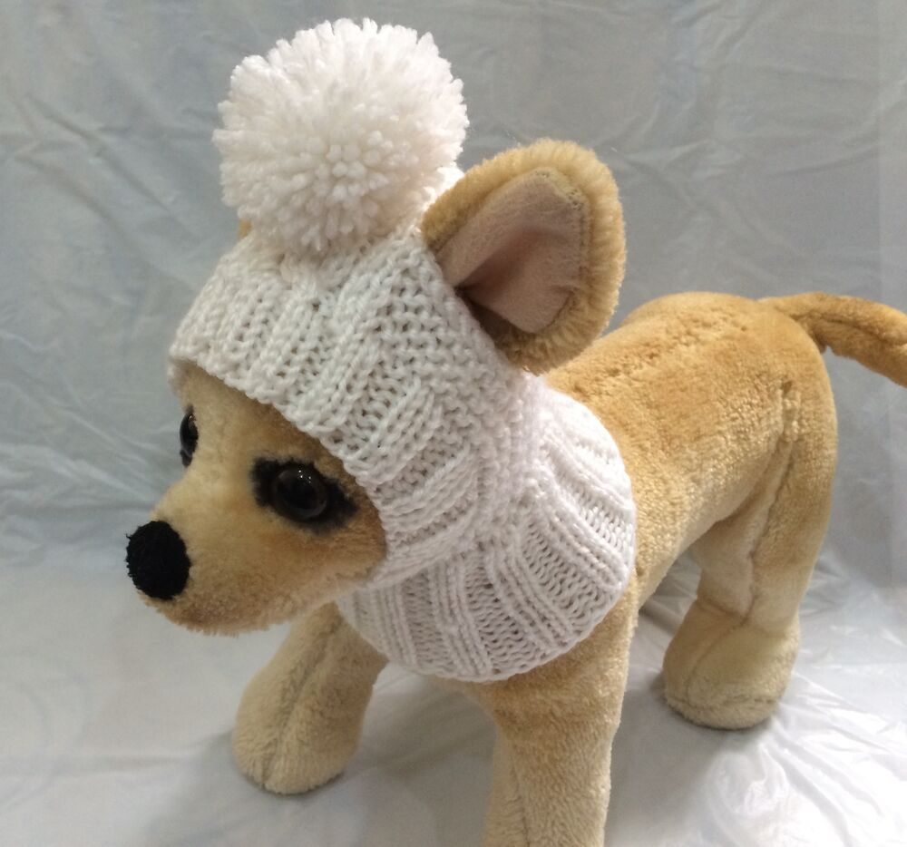 Pet Clothes Apparel Outfit Handmade Knit Hoody Snow-Hat ...