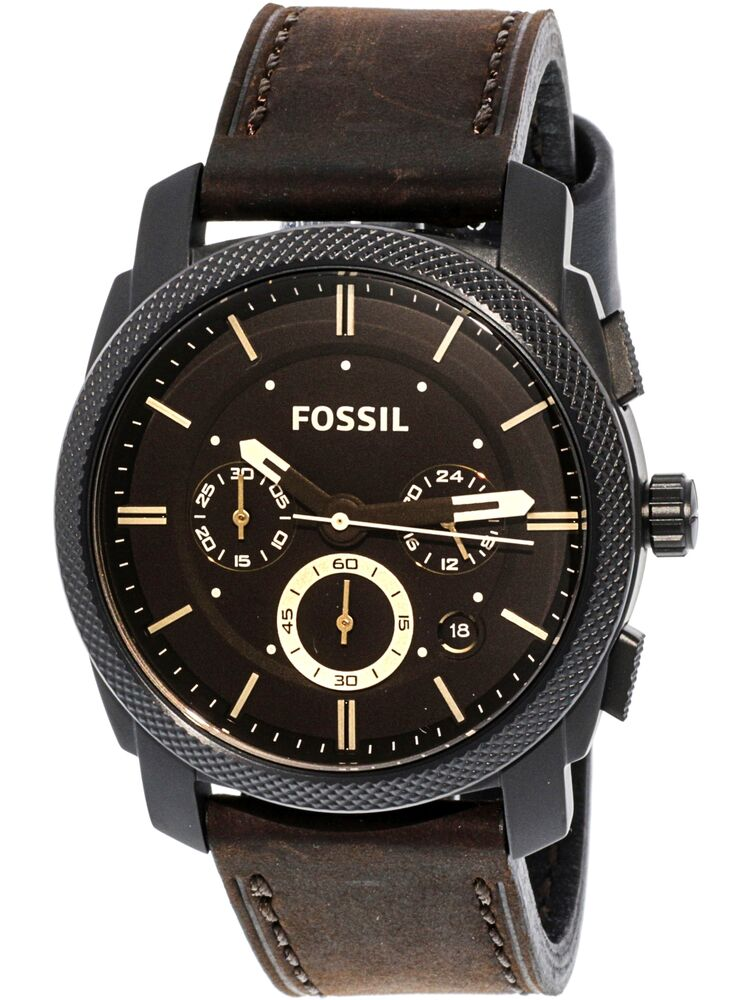 Fossil Men S Machine Fs Brown Leather Analog Quartz Fashion Watch