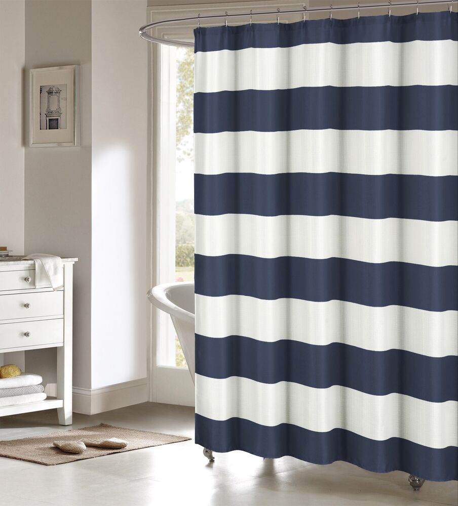 toto navy blue large white stripes striped fabric shower curtain duck