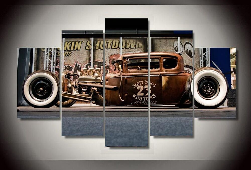 Vintage Auto Wall Decor : Frame picture antique classic car vintage wall painting