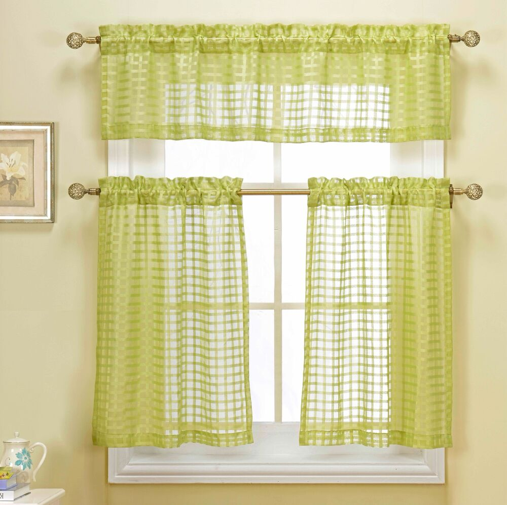 Kitchen Curtains And Valances: Cleo Sage Green Embroidered Checkered 3 Pc Kitchen Tier