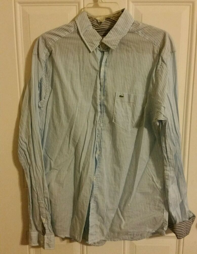 Lacoste mens sz 42 l dress shirt long sleeve white blue for Blue and white long sleeve shirt