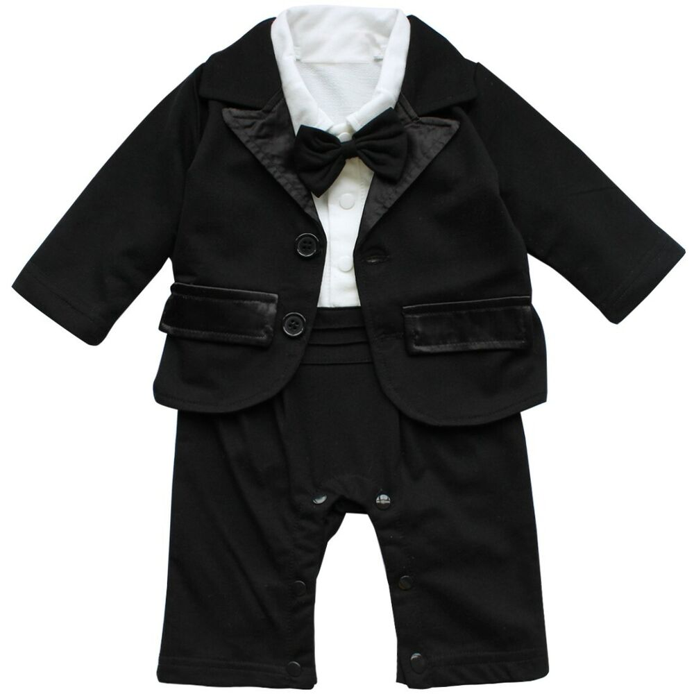 54af6d5ae Baby Boys Formal Suit Set Tuxedo Wedding Bow Shirt Romper Jacket ...