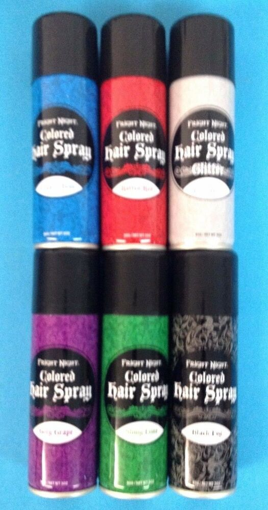 Lot 6 - Fright Night Colored Hair Spray - Black,Silver ...