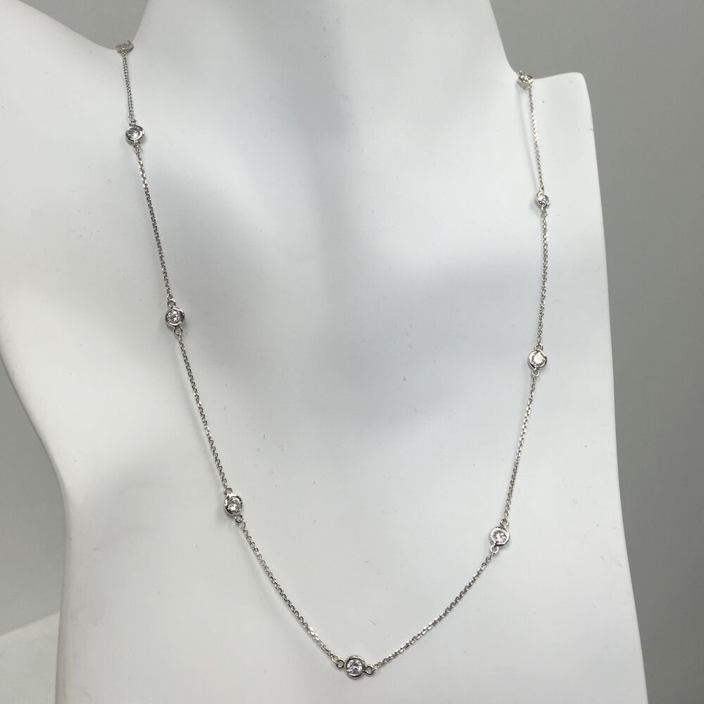 1 ct diamond by the yard station necklace 14k white or. Black Bedroom Furniture Sets. Home Design Ideas