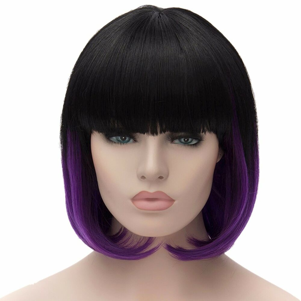 Black&Purple Mixed Women Short Straight Bob Wigs Cosplay