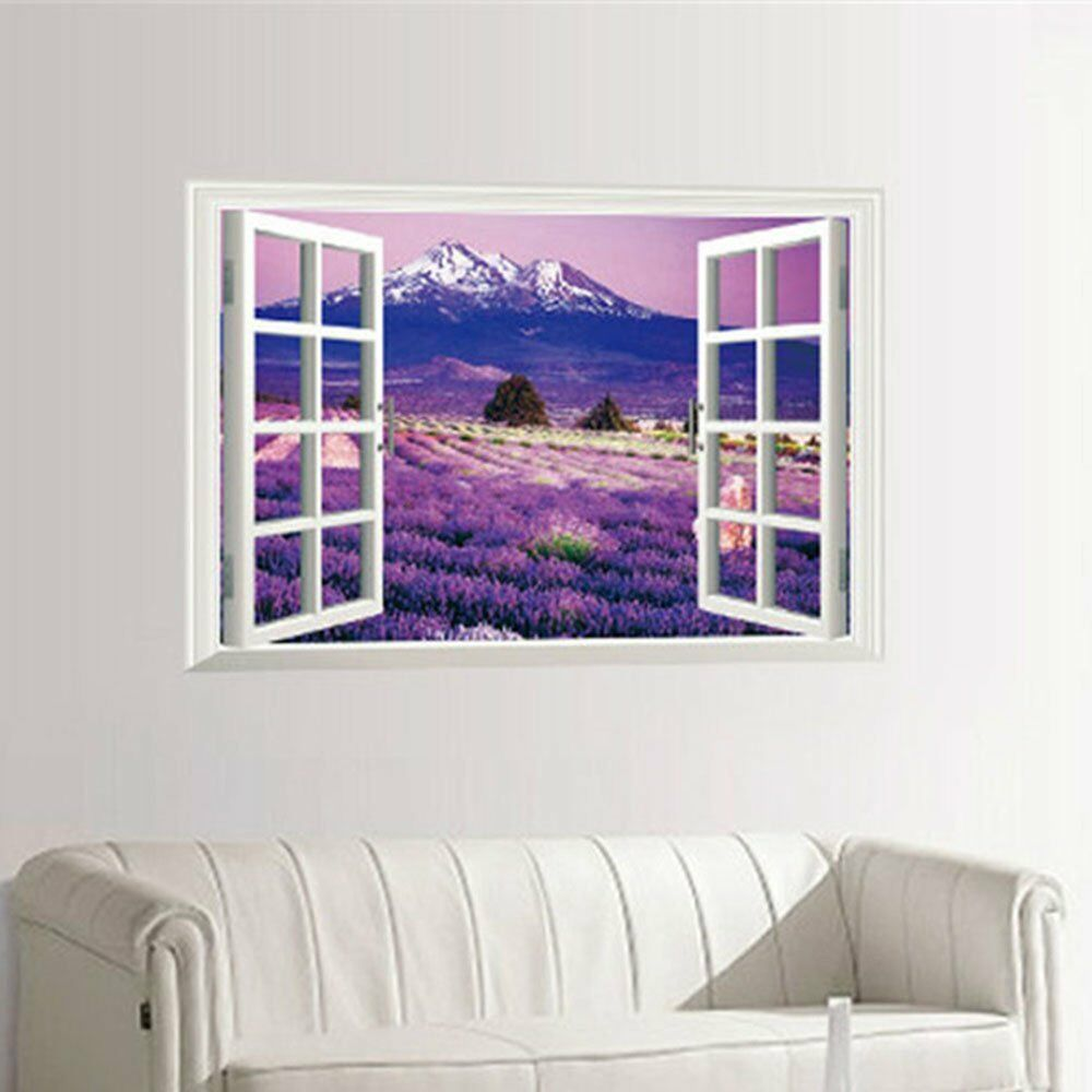 Removable 3d window view lavender wall art sticker vinyl for Decor mural wall art