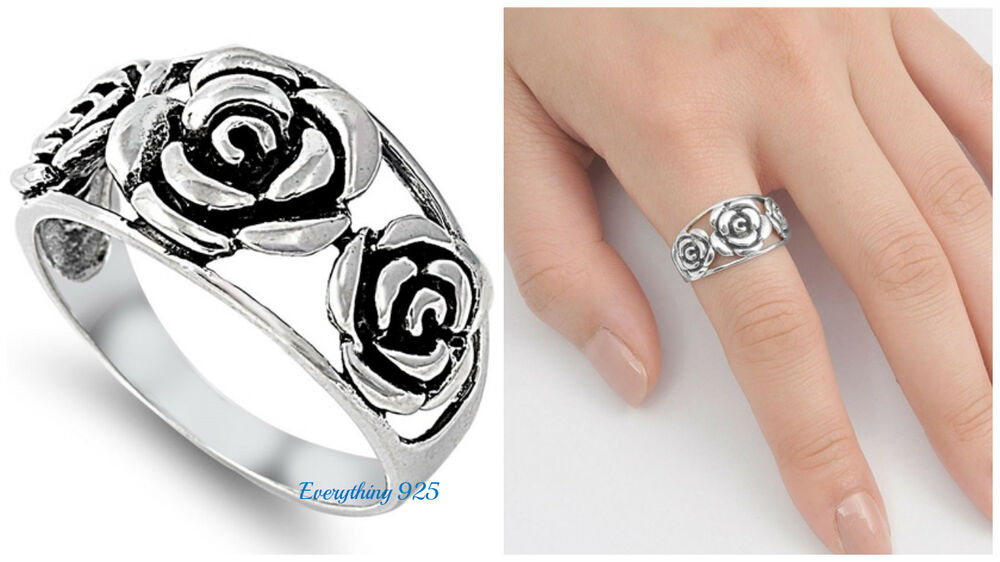 Sterling Silver  Pretty Rose Flower Design Silver Ring Mm Sizes