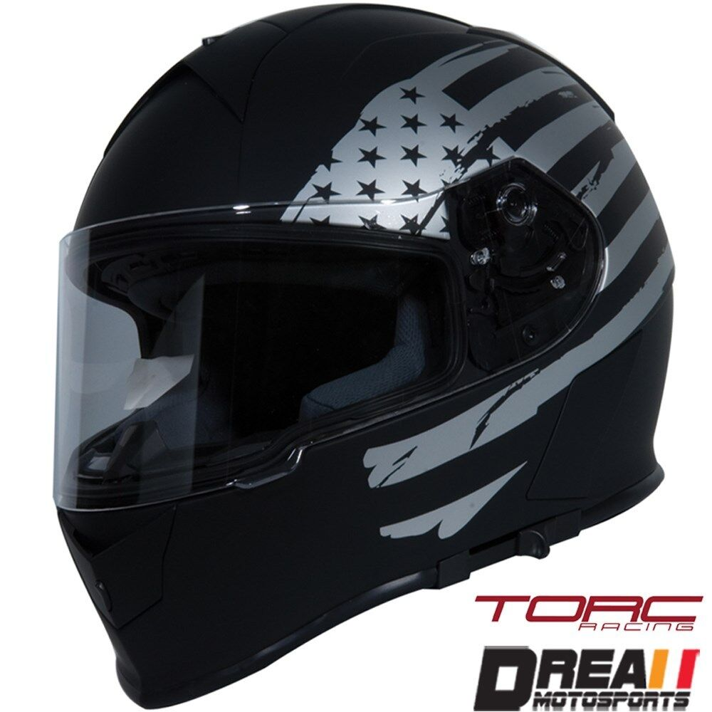 TORC T14 MATTE FLAT BLACK AMERICAN FLAG FULL FACE ...