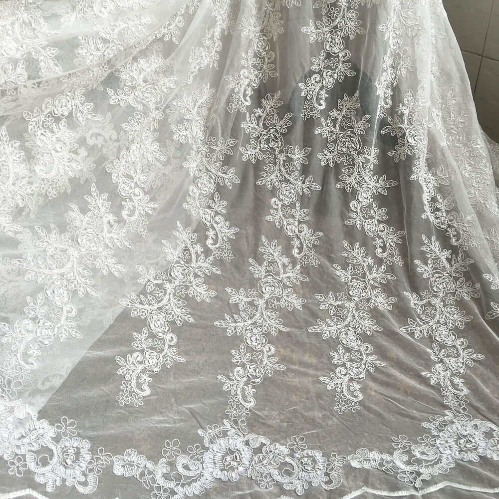 Ivory embroidery beaded bridal lace fabric 51 wide for for Wedding dress lace fabric