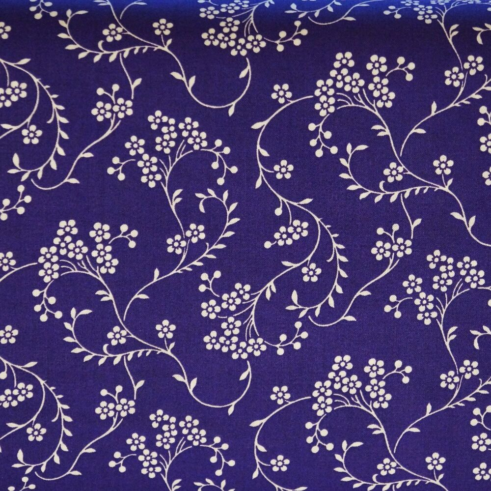 White Floral On Purple 100 Cotton Quilt Fabric By The 1