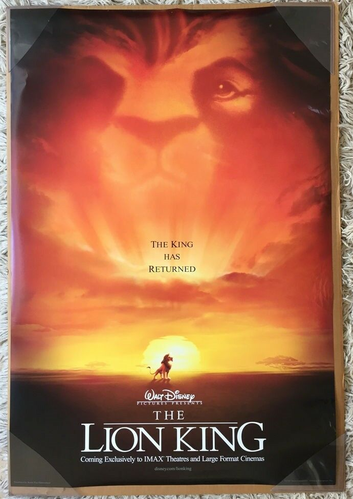 THE LION KING MOVIE POSTER 2 Sided ORIGINAL IMAX VF 27x40 ...