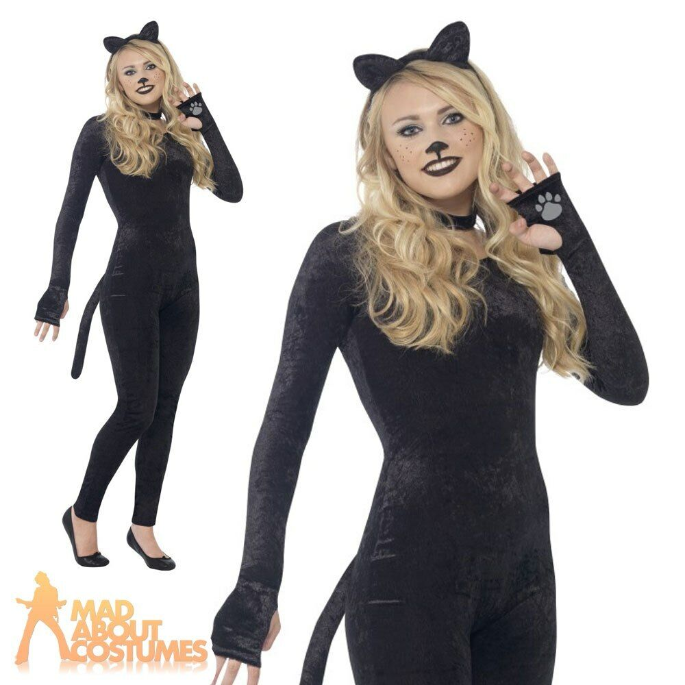 Teen Cat Costume Witches Kitty Girls Halloween Fancy Dress Outfit New