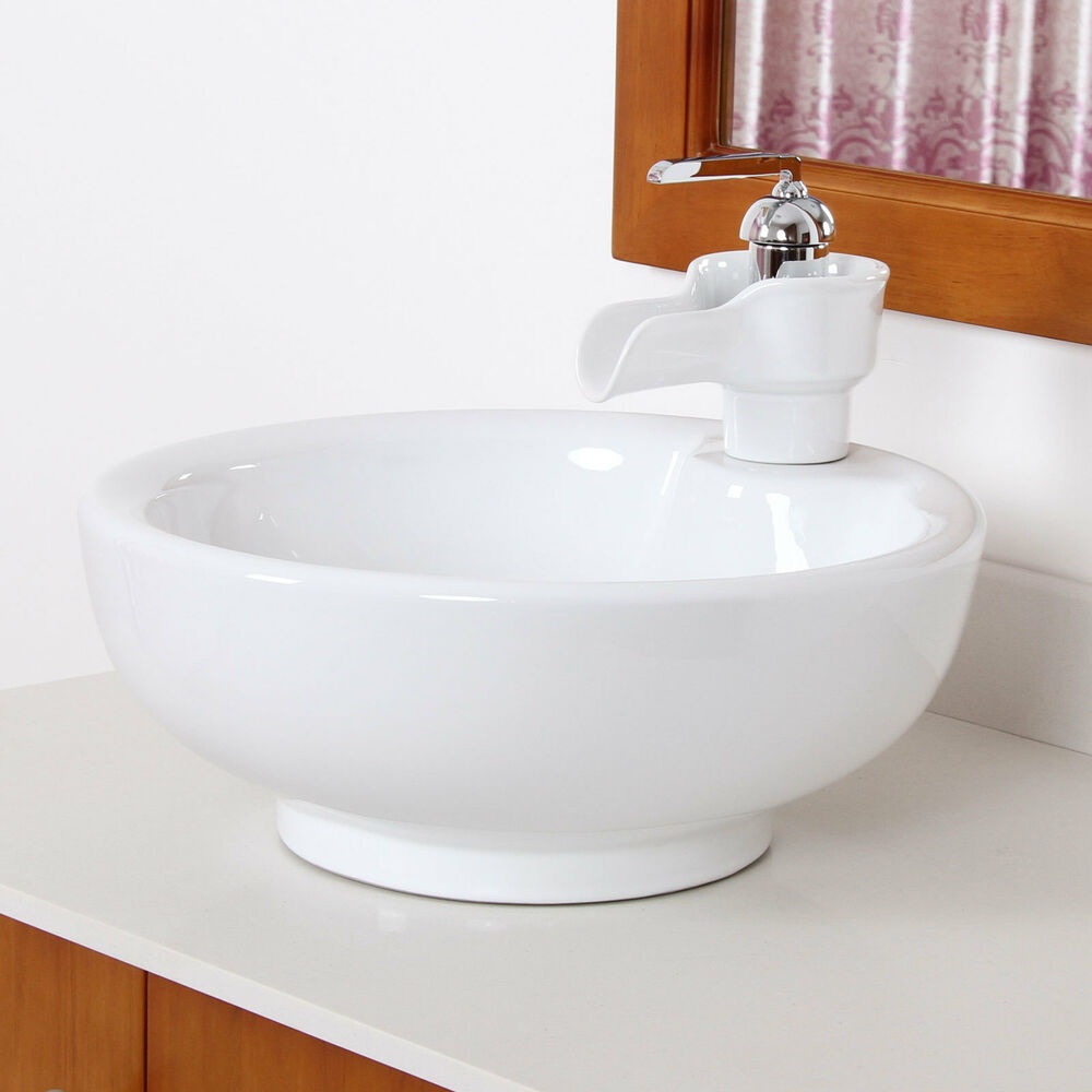 Bathroom white bowl round ceramic porcelain vessel sink ceramic faucet combo ebay for White porcelain bathroom faucets