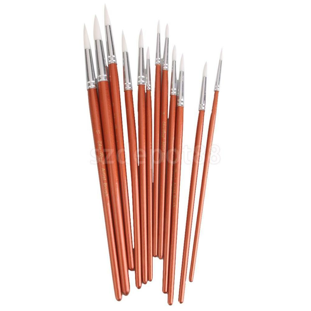 12pcs Artist Paint Brushes Pointed Brush Set Watercolor ...