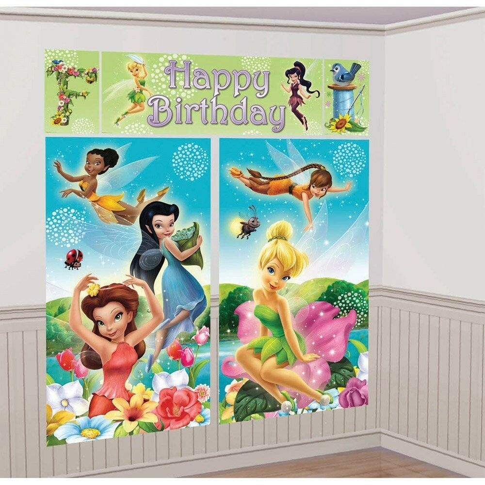 party wall decorations and scene setters shenra com disney fairy tinkerbell scene setter birthday party wall