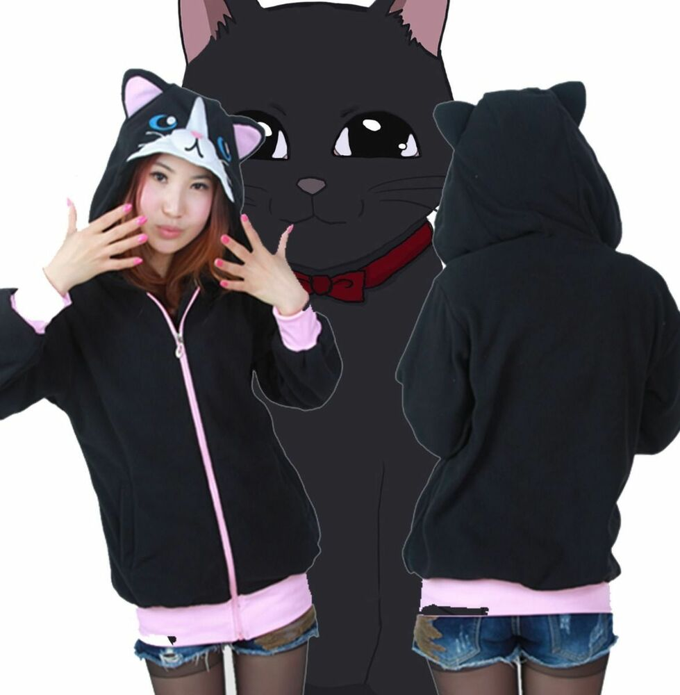 Women Black Cat Hoodie Sweatshirt Jacket Long Sleeve With ...