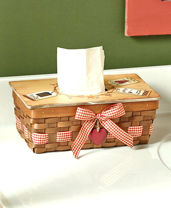Decorated Tissue Box: COUNTRY HEART TISSUE BOX COVER Kleenex Holder Primitive