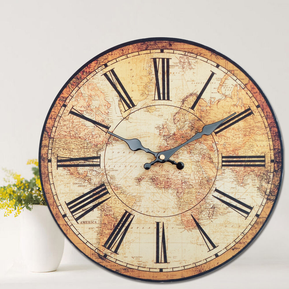 large rustic wall clock vintage style wall clock kitchen home world map globe 11404