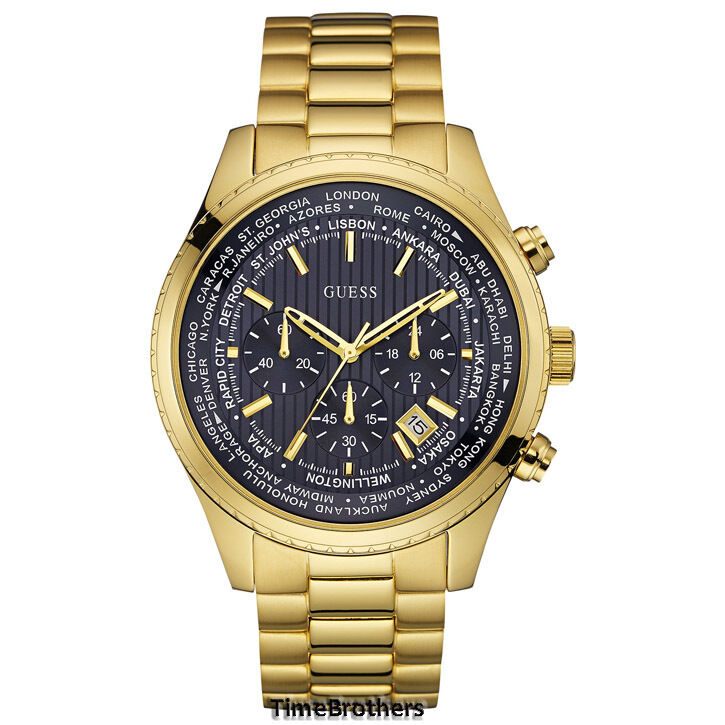 NEW GUESS WATCH for Men * Dark Blue Dial * Gold Tone ...