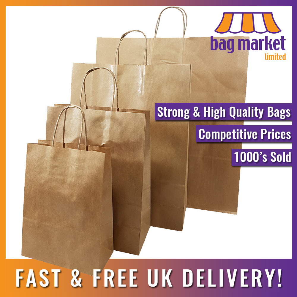 Brown Kraft Twisted Handle Paper Carrier Bags Strong