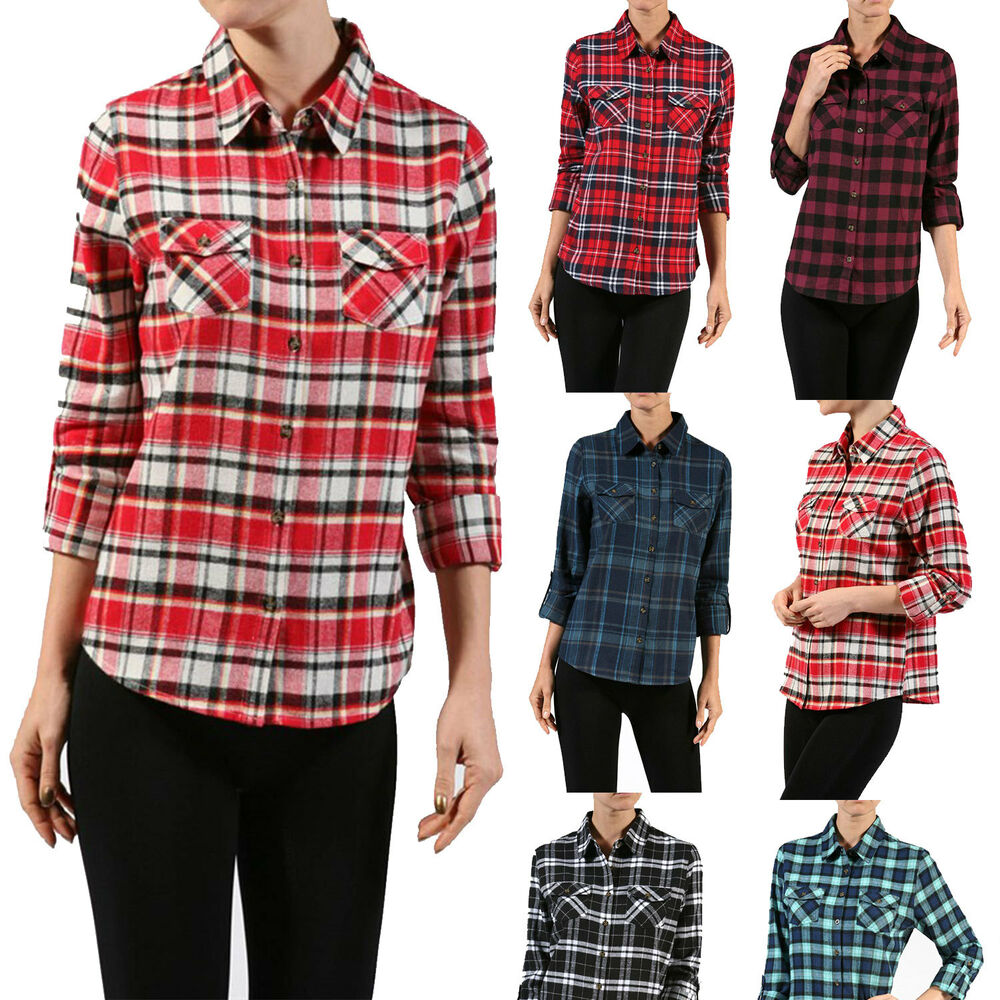 Women junior two pocket button down plaid lightweight for Plaid button down shirts for women