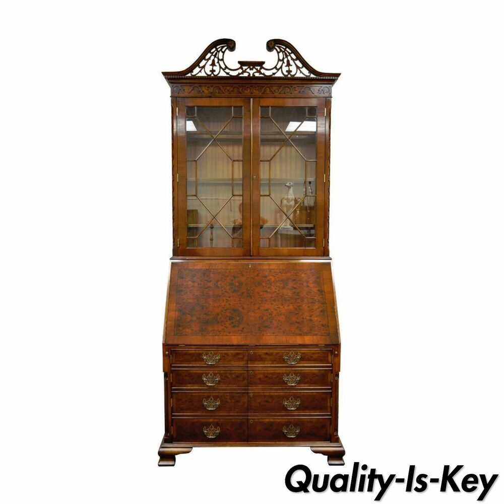 """103"""" Tall Mahogany & Yew Wood Chippendale Style Computer ..."""