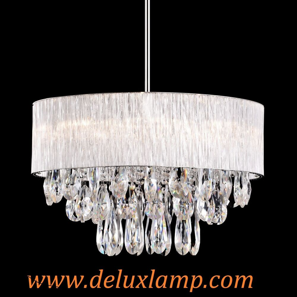20 Quot Drum Fabric Round Ribbed Glass Shade Crystal Drop
