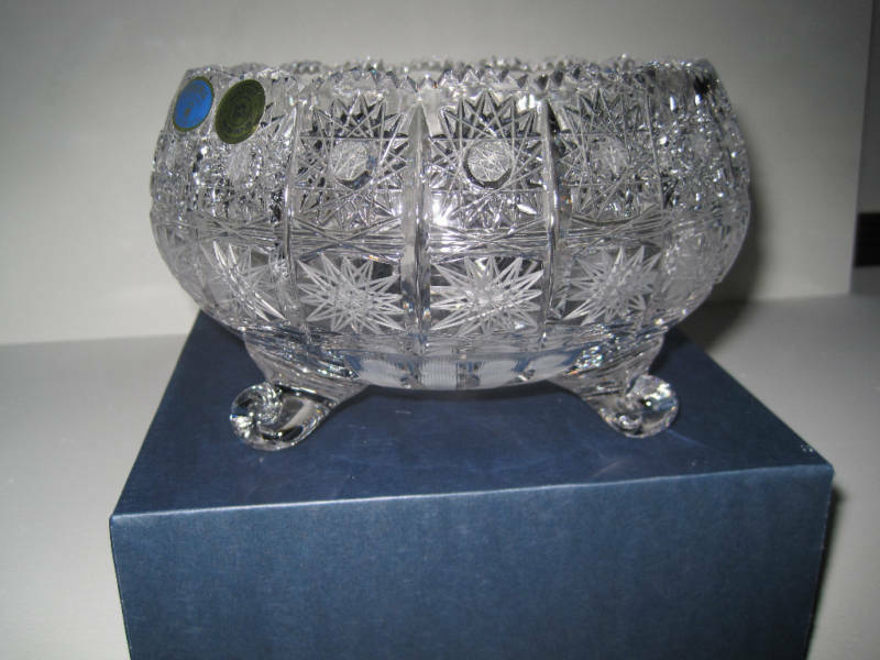 Vintage Bohemia Queen Lace Hand Cut 24 Lead Crystal Round Footed Bowl 12 Quot Nib Ebay