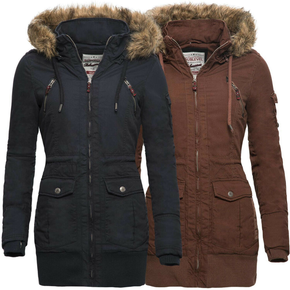 sublevel damen winter jacke langer mantel parka winterjacke s xl neu b185 ebay. Black Bedroom Furniture Sets. Home Design Ideas