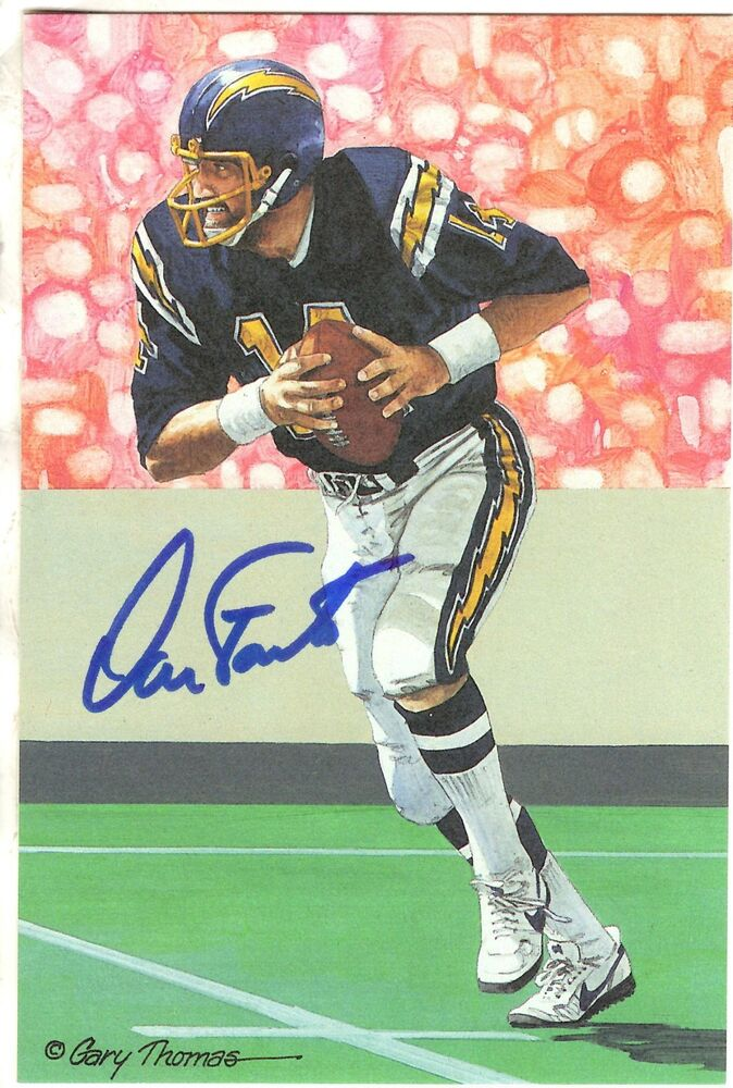 Autographed Dan Fouts Goal Line Art San Diego Chargers