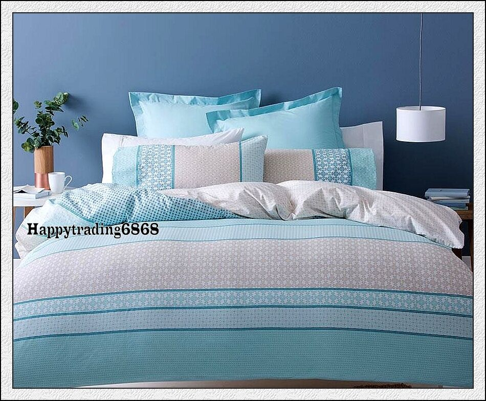Turquoise Duvet Cover: Pale Turquoise Blue Linen Stripe KING QUEEN DOUBLE SINGLE