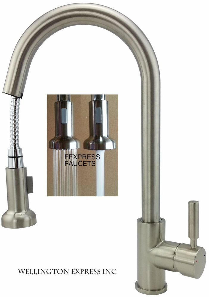 Kitchen Sink Faucet Pull Out Sprayer Single Handle Single Hole Brushed Nickel