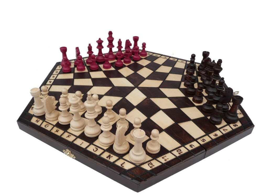 3 Three Players Wooden Chess Set Large Rules Included