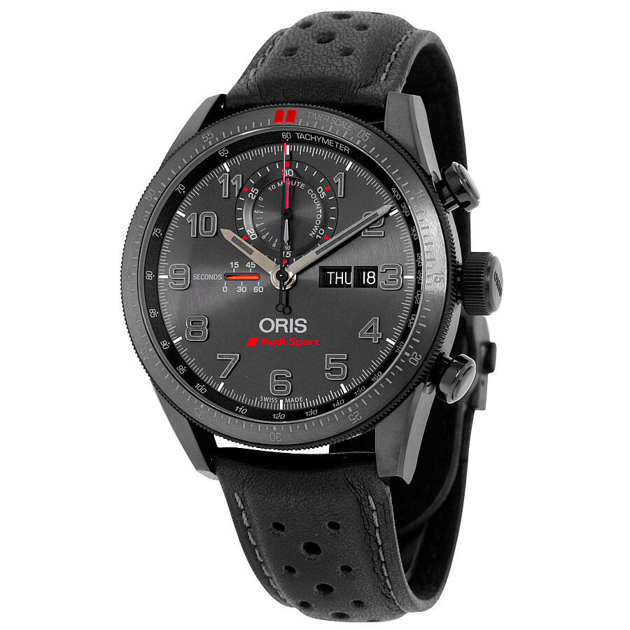 Oris artix gt audi sport chronograph black dial black leather watch ebay for Oris watches