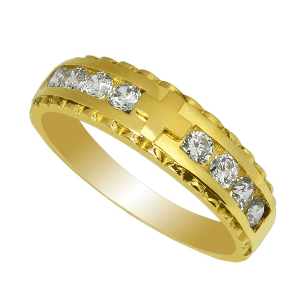 Ladies 14K Yellow Gold Plated Fashion Ring Band Embedded ...